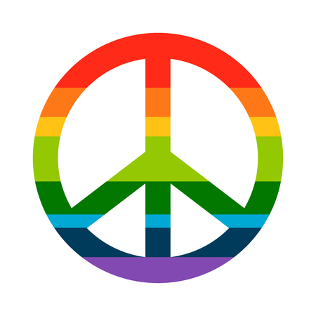 pacificist: Brightness Rainbow peace symbol on white background. Vector hippie icon