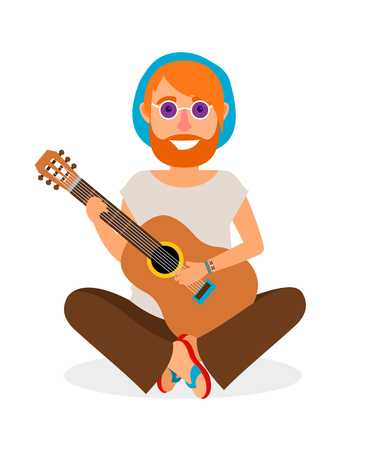 Guitar player. Hippie Man with Guitar in flat style vector illustration Illustration