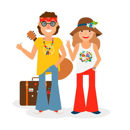 the sixties: Hippie couple hitchhiking with guitar and suitcase. Vector colored icon on white backround