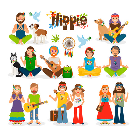 Hippie vector illustration. Barefoot man with flowers and dog and hippie girl