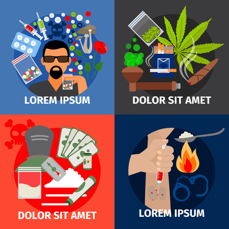 addict: Drugs addiction vector concept. Drug injection and marijuana pipe, heroin addict and stop crime