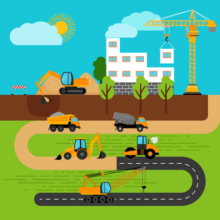 Construction process. Building crane and excavator, bulldozer and tractor. Vector illustration