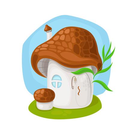 mushroom house: Fairy mushroom house on white background vector illustration Illustration