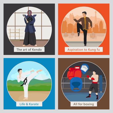 artes marciales mixtas: MMA o artes marciales mixtas ilustración vectorial Vectores
