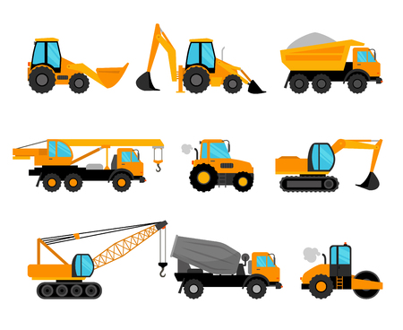wheeled tractor: Construction machinery and building construction equipment icons on white background. Vector illustration