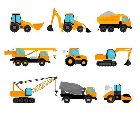 Engins de chantier et de construction de bâtiments icônes d'équipement sur fond blanc. Vector illustration