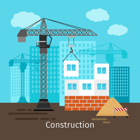 house construction: House construction with building crane for site construction vector illustration