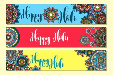 dhulandi: Horizontal banners for Holi Holiday with tribal ornament. Vector illustration