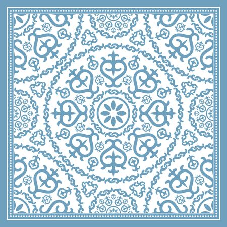 frosted window: Light blue scarf design with mandala ornament. Vector illustration