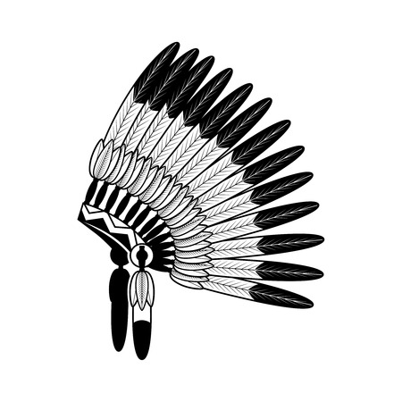 bonnet: American Indian feathers war bonnet isolated on white. Vector illustration Illustration