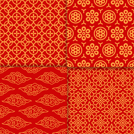 prosperous: Red geometric oriental pattern set. Vector illustration
