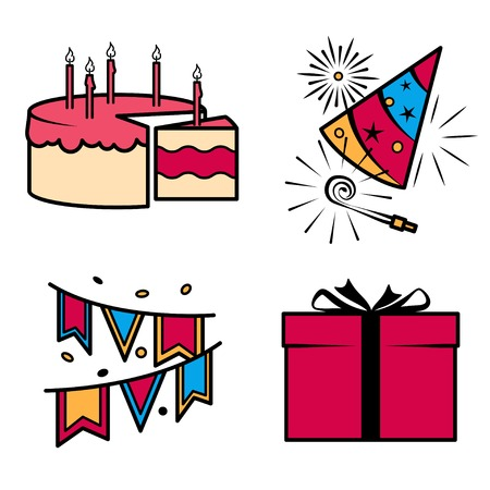 aerated: Birthday party celebration icons set. Vector ilustration Illustration