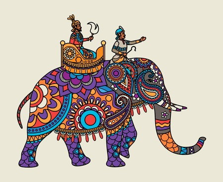 Indian ornate maharajah on the elephant. Vector illustration