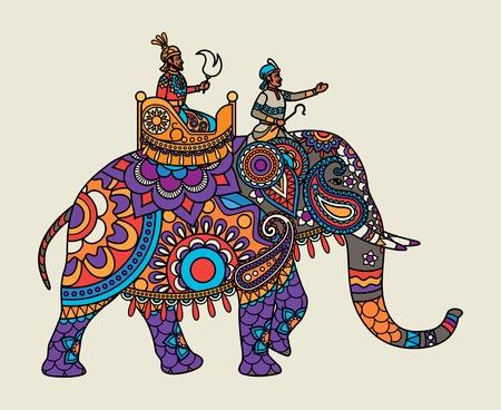 Indian ornate maharajah on the elephant. Vector illustration