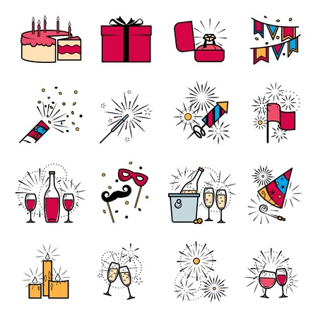 engagement party: Party celebration fireworks engagement icons set. Vector illustration