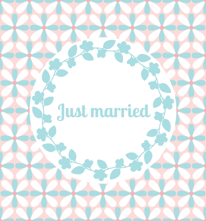 stripped: Just married wedding card template decorated cute pattern with floral frame. Vector illustration Illustration