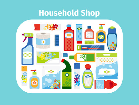 Household shop cleaning icon set. Vector illustration Illustration