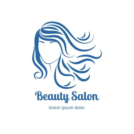 blue face: Blue icon with girl face silhouette. Vector illustration