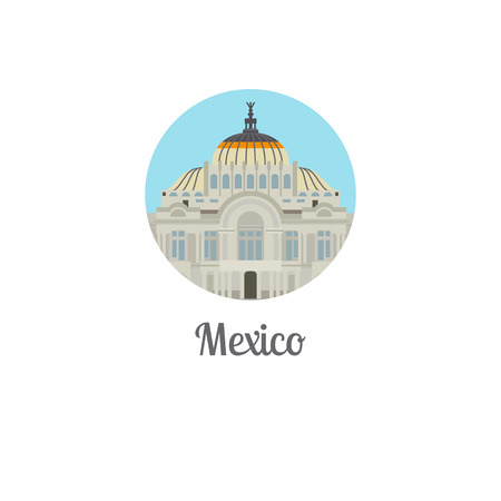 monument valley: Mexico palace landmark isolated round icon. Vector illustration Illustration