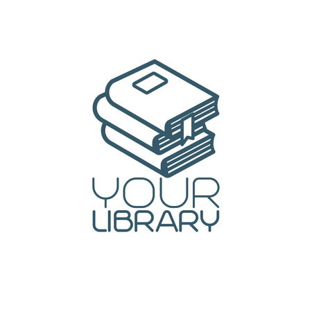 Your library isolated icon with pile of books. Vector illustration