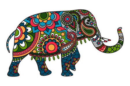 Colored doodle Indian elephant illistration isolated over white. Vector elephant icon
