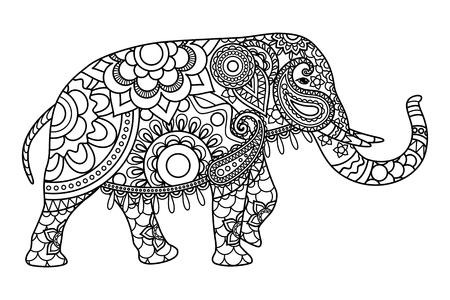 siluetas de elefantes: Dibujos para colorear elefante indio plantilla. ilustración vectorial