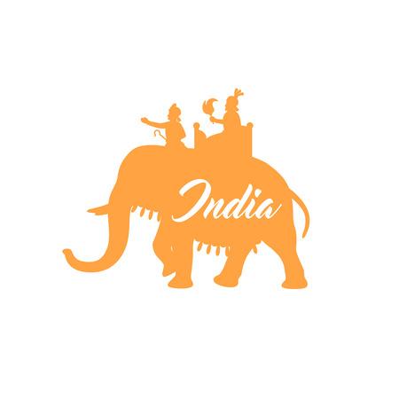 maharaja: Indian maharaja sitting on elephant orange silhouette. Vector illustration