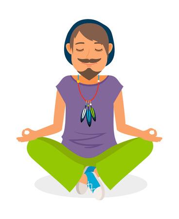 Funky man vector icon. Hippie man yoga meditation Illustration