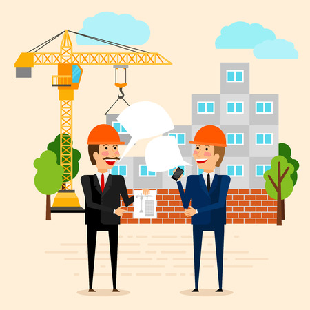 house construction: Construction or building vector illustration. Builders discussing construction of house