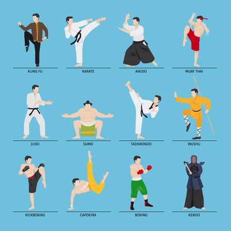 Asian arti marziali illustrazione vettoriale. Karate e Kung Fu, sumo e la boxe