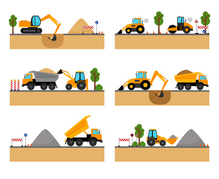 building site: Building site machinery vector illustration. loader and excavator, digger and dumper