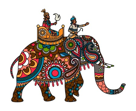 Ethnic Indian maharajah on the elephant colored illistration. Vector illustration Иллюстрация