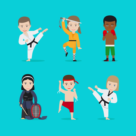 Kids martial arts vector illustration. Karate girl and boxing boy Illustration