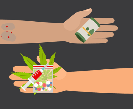 give money: Drug buy. Give money and take drugs vector illustration