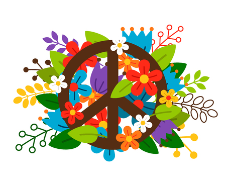 Peace symbol with flowers on white background. Vector illustration