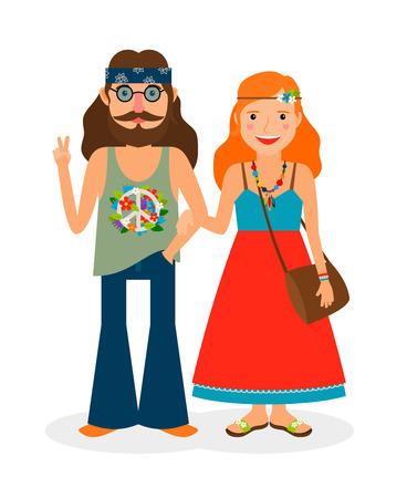 Hippie anni sessanta ragazza e l'uomo di potere dei fiori. illustrazione di vettore Vettoriali