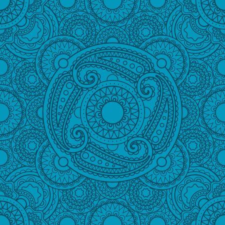 svadhisthana: Mystical blue pattern with mandalas for yoga studio design. Vector illustration