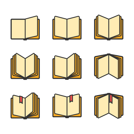 Open books icons set isolated over white. Vector illustration