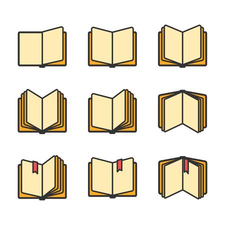 libros abiertos iconos conjunto aislado más de blanco. ilustración vectorial
