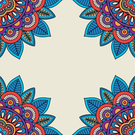 hand drawn frame: Floral rosettes doodle hand drawn frame. Vector illustration Illustration