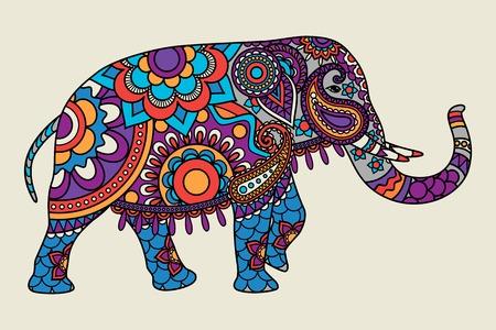 華やかなインドゾウは手描き色 illistration です。ベクトル図
