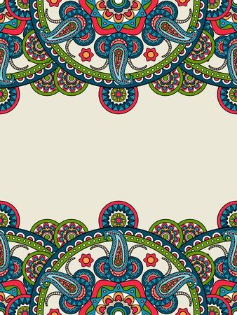 vertical format: Indian paisley boho mandalas frame, vertical format. Vector illustration Illustration