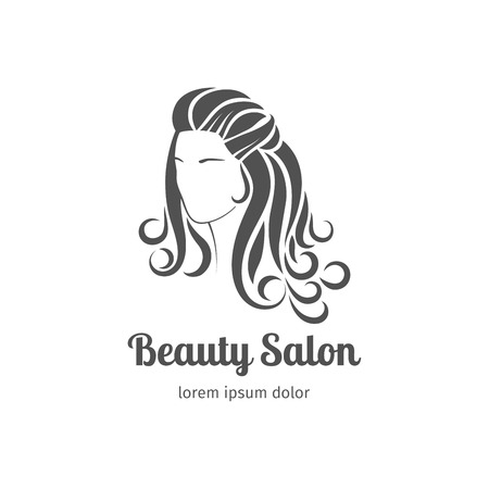 wavy hair: Beautiful girl silhouette with long wavy hair. Vector illustration