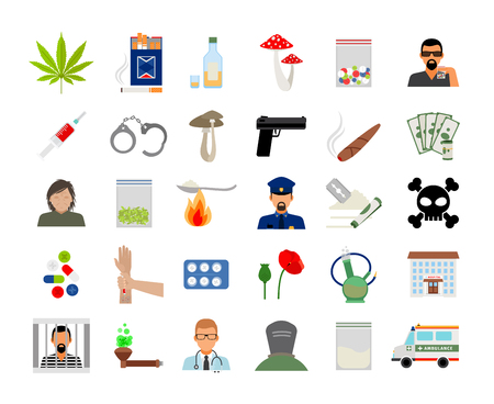 heroin: Drugs and addiction flat colorful icons on white background. Vector illustration
