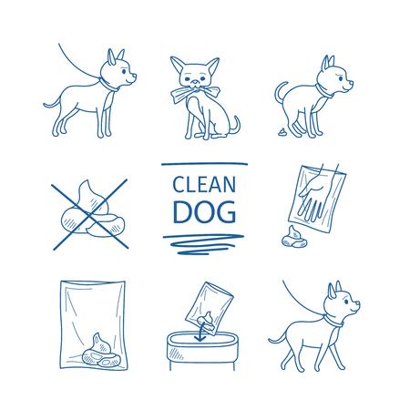 to clean up: Dangerous dog clean up poop vector blue line doodles