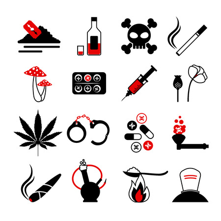 methamphetamine: Drugs and alcohol addiction icons. Poison and injection, razor blade and marijuana pipe signs. Vector illustration
