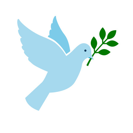 Bird peace symbol. Blue dove with green branch vectorillustration