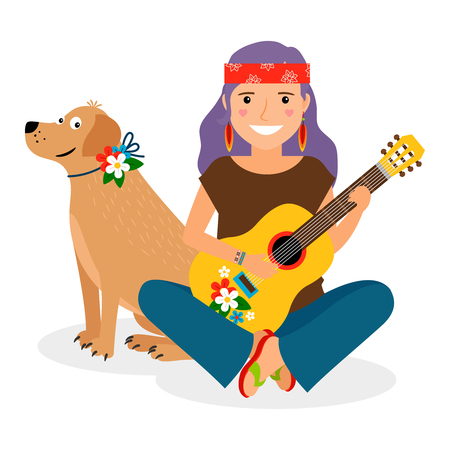 hairband: Hippie Girl with Guitar and Dog. Vector illustration
