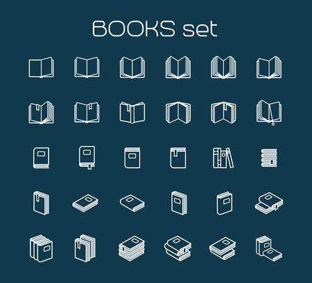 Line art books set. White books icons on blue bckground. Vector illustration Illustration