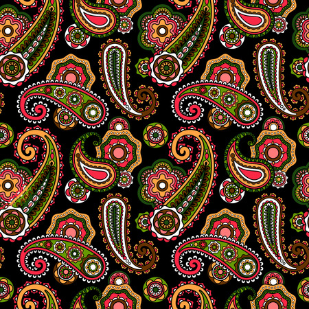 Arabic pattern with paisley black background. Vector illustration